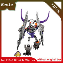 Bevle Store KSZ 710-3 72Pcs BIONICLE Series Skull horn warrior Model Building Blocks Bricks For Children Toys Lepin 70793