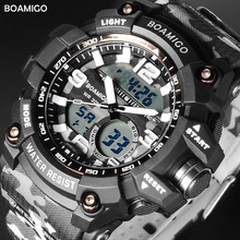BOAMIGO sport digital watch men waterproof fitness wrist Camouflage LED display Multiple Time Zone Alarm Chronograph new