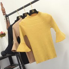 Chic Butterfly Sleeve Knit Top Ladies Round Neck Half Sleeve Sweater Top Knitwear Shirt Female Stretch Bottoming Knitted Top