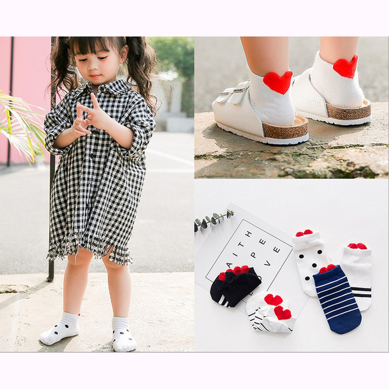 2019 New Arrived Girls Sock Free Shipping 72% Cotton Baby Ship Boat Socks Children Heart Striped Kids Assistand Wholesale 5pair
