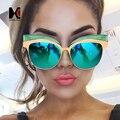 Mulheres de grandes dimensões Cateye Frame Verde Lente Espelho Reflexivo óculos de Sol