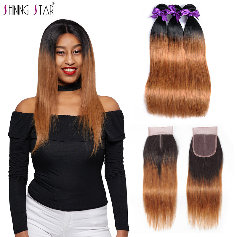 3/4 Bundles With Closure T1b 27 Honey Blonde Ombre 3 Brazilian Straight Hair Bundles With Closure Human Hair Weave With Closure Shiningstar Non Remy Hair