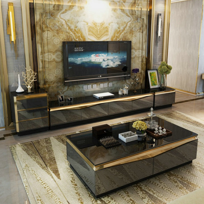 Tv-Stand Cabinet Centro-Table Mesa Coffee Mueble Living-Room Modern Gold Stainless-Steel