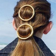 Modern Vintage Woman Hair Accessories Vintage Round Hair Clip Pin Metal Geometric Headdress Circle Hairgrip Girls Holder Jewelry