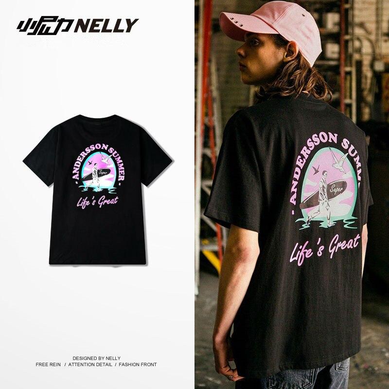 Prix pour NELLY Hommes Skate T-shirts Rue Coton Planche À Roulettes T-shirts À Manches Courtes Sportswear Tops