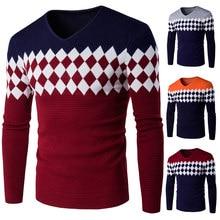 480bd21e09 Los hombres de cuello V suéter de manga larga hombres camisa para hombre  Casual suéteres hombres suéter de cachemira diamante .