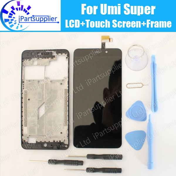 UMI Super LCD Display with Touch Screen Assembly+Middle Frame 100% Original LCD+Touch Digitizer for UMI Super F 550028X2N