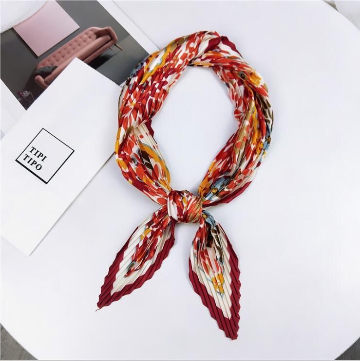 Pleated small square scarf Wrinkled silk headscarf print Foulard female square wrinkle scarf small wrinkled decorative headscarf