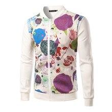 Fashion Men's Jacket Rose Printed Zipper Collar Jacket Cotton Comfortable Sweater Coat B3145