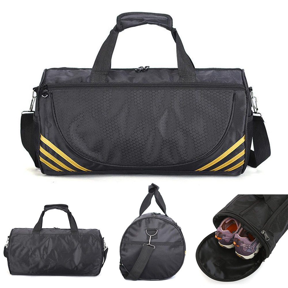 Outdoor Waterproof Nylon Sport Gym Bags Men Women Training Fitness Travel Handbag Yoga Mat  Shoulder Cylinder