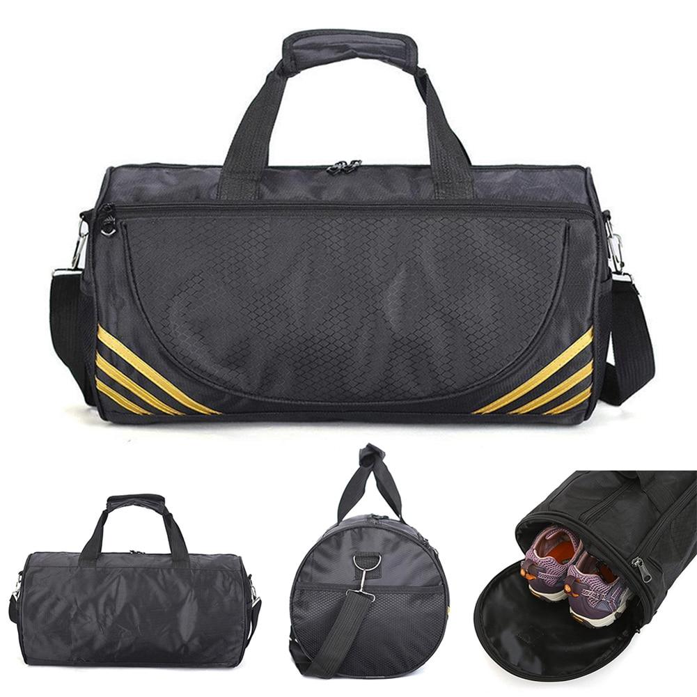 Outdoor Waterproof Nylon Sport Gym Bags Men Women Training Fitness Travel Handbag Yoga Mat  Shoulder Cylinder