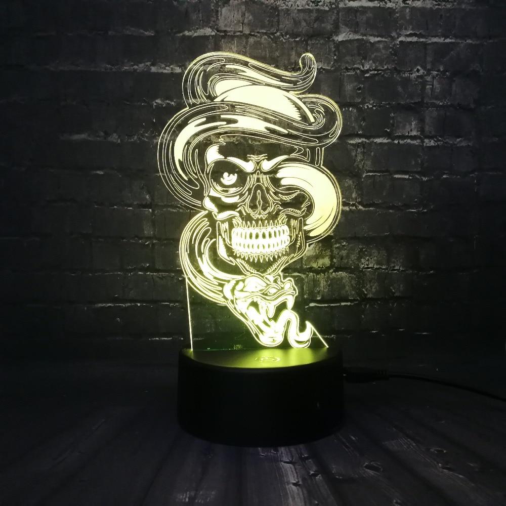 New Fierce Snake Wrapped Skull 3d Led Usb Lamp Rock Style