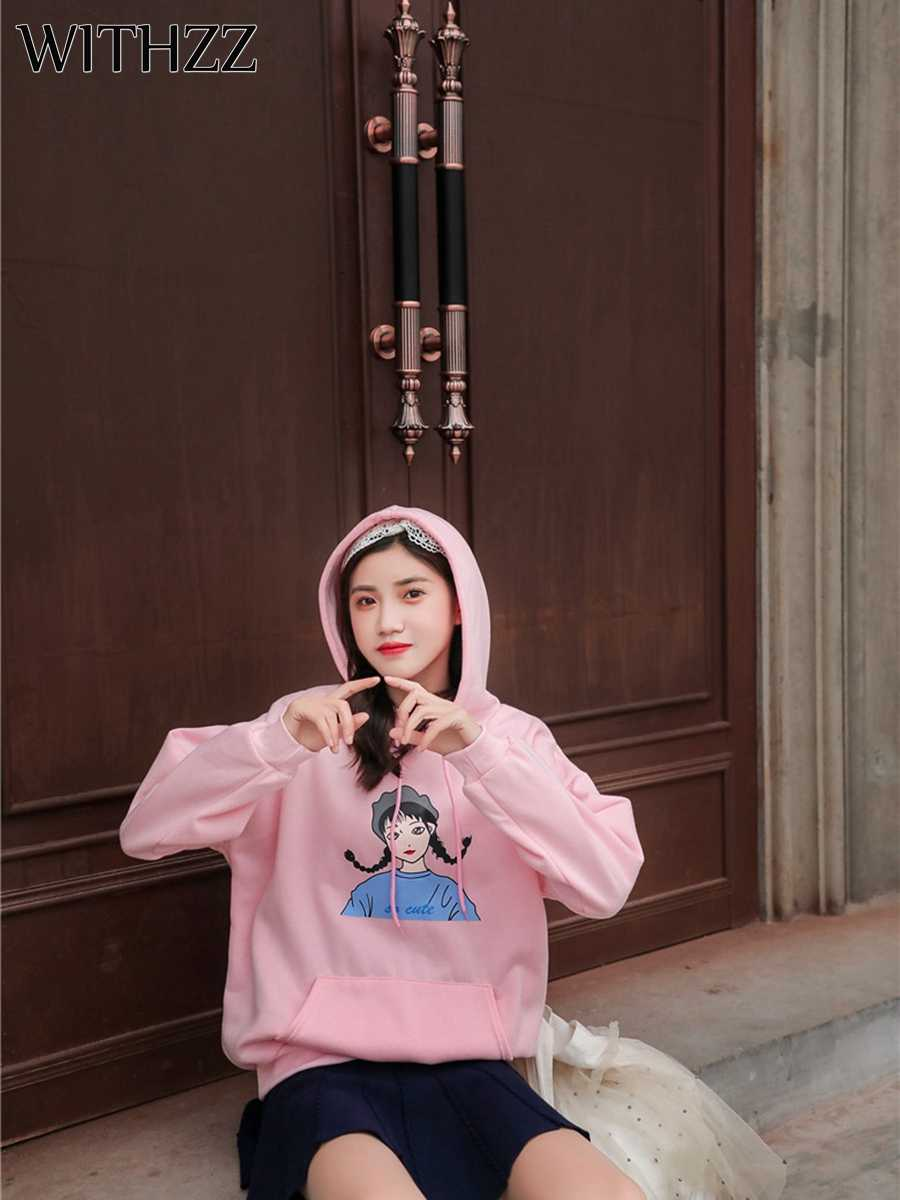WITHZZ Loose Long-sleeved Hooded Lazy Sweatshirts Little Girl Print Top Athleisure with Velvet Warm Thick Coat Black White Pink