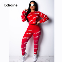 Women Letter Print 2 Pieces Set Sportwear Casual Crop Top And Pants Bodycon Set Female Clubwear Outfit Womens Pants Set slogan print side crop pants