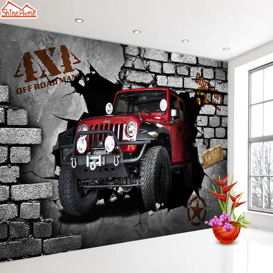 ShineHome-Custom Cartoon Brick Wallpaper For 3 D Living Room Kids Boys Wallpapers Wall Paper Mural Rolls Cafe Background Home