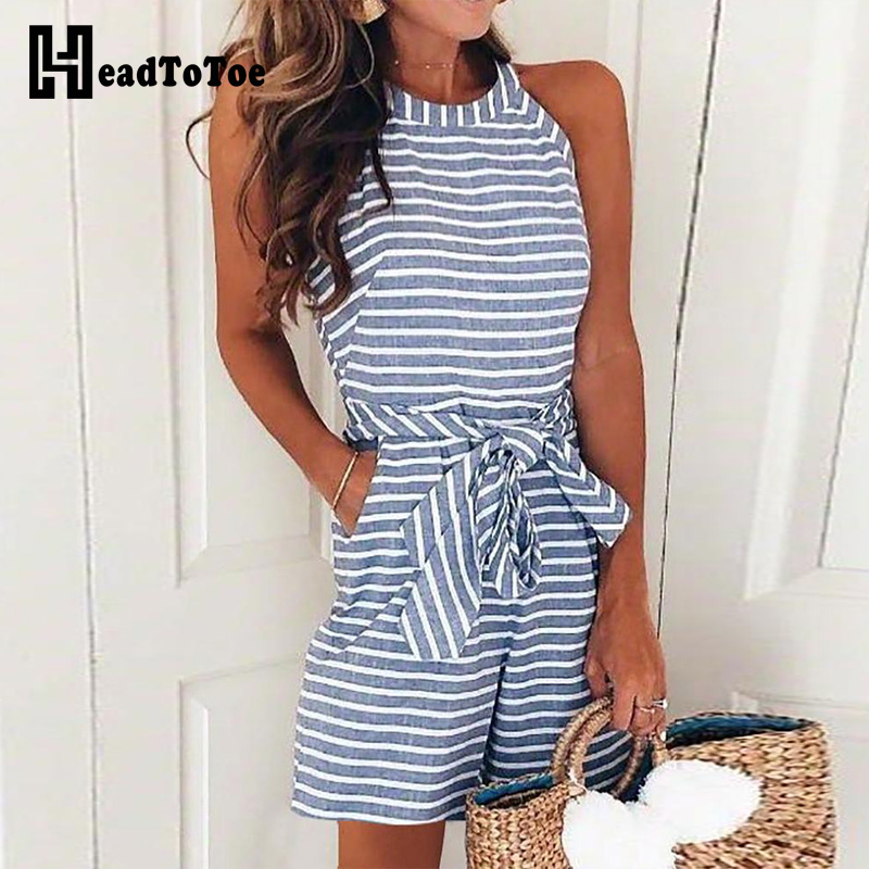 2019 Women Striped Sexy Sleeveless Playsuit Ladies Belted Casual Romper   Jumpsuits   with Pockets Female Summer One Piece Rompers
