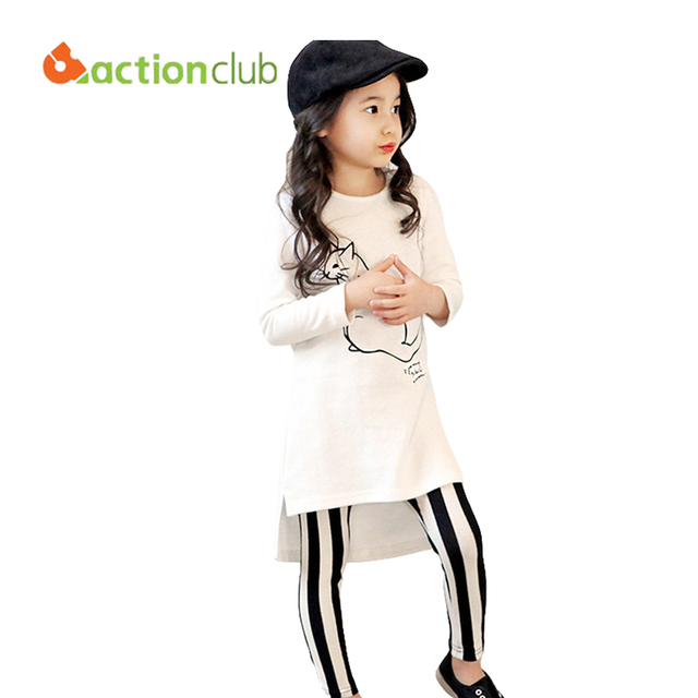 2016 Girls T-shirt and Pants Kids Set Clothes Long-sleeved Fashion Stripe Cotton Trousers Children Clothing KS454