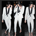 2017 fashion black and white double breasted women two 2 piece pant suits elegant evening party suit latest coat pant designs