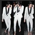 2017 moda preto e branco dupla breasted mulheres dois 2 um pedaço da calça ternos elegantes da festa de noite terno mais recentes modelos casaco calça projetos