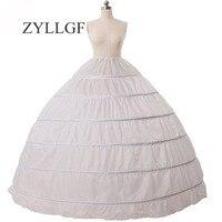 ZYLLGF 6 Hoop Petticoat Underskirt Slip For Ball Gown Dresses 110cm Diameter Underwear Crinoline Wedding Accessories