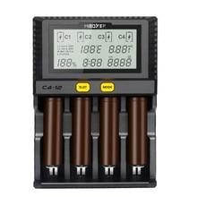 Miboxer C4 12 4 Slot de Carregador de Bateria Inteligente 18650 26650 Tela de LCD 3.0A/slot 12A total para Li ion/ IMR/INR/ICR/Ni PK liitokala500