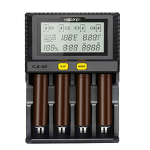 Miboxer C4 12 Smart Battery 18650 26650 Charger 4 Slot LCD Screen 3.0A/slot total 12A for Li ion/IMR/INR/ICR/Ni PK liitokala500