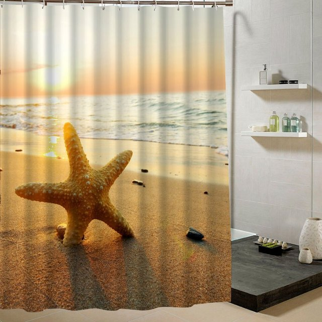 Memory Home Star Fish Sea Shell On Beach Sunset Scene Shower Curtain Custom  Printed Waterproof Fabric
