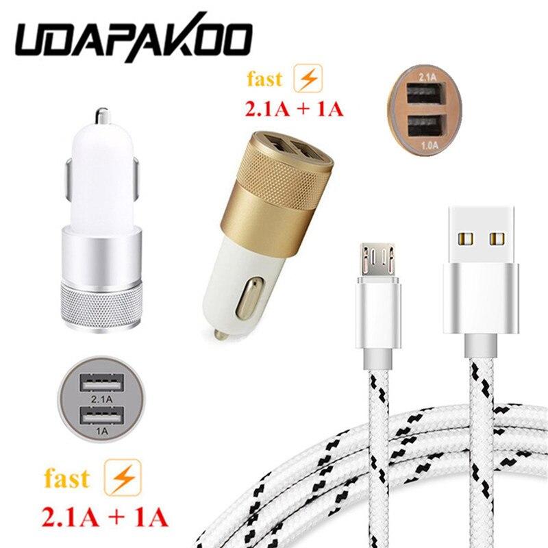 1 м металлический штекер Micro USB Cable &#038; dual usb 2.1a быстро автомобильное зарядное устройство для <font><b>Samsung</b></font> Galaxy A3 A5 A7 <font><b>J5</b></font> <font><b>2016</b></font> Android мобильного телефона