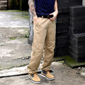 Khaki Cargo Pants Men 100% Cotton Mens Casual Pants Zippered Side Pockets New 2017 Straight Fit Air Vent Pants