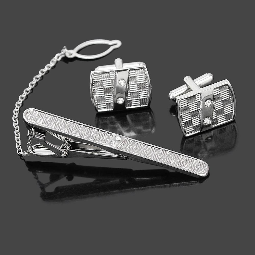 1 Set Fashion Men's Shirt Costume Tie Clip Clasp Rhinestone Sleeve Cuff Links