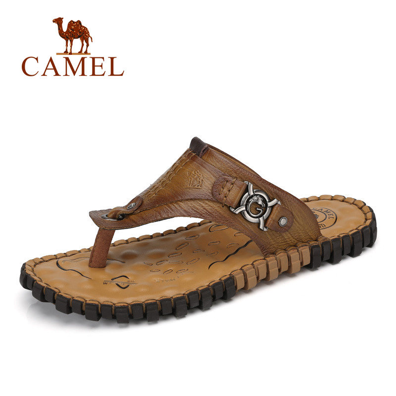 Camel Mens Summer 2018 Hots Fashion Flat Flip-Flops Leather Clip Toe PU Casual Sandals Antiskid Massage Insole A722344453