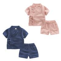 2018 Boys Set Clothing Vintage Baby Boy Girl Short Sleeve T Shirts Shorts 2 Pcs Suit