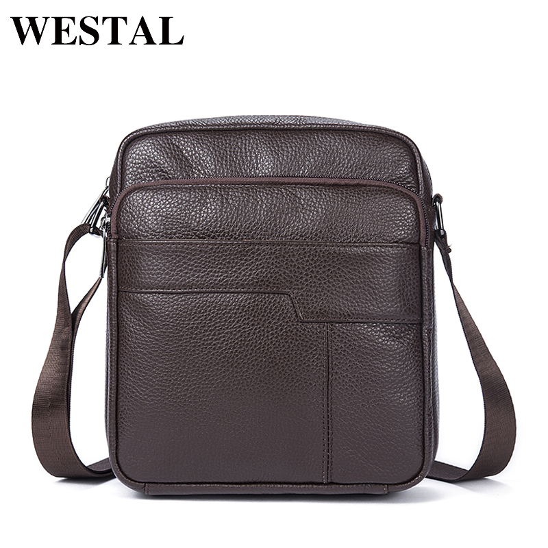 WESTAL Men's Shoulder Bag Men's Genuine Leather Flap Zipper Vintage Male Man Crossbody Bags For Men Messenger Leather Bag 7603