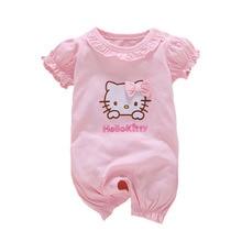 Sommer Stil Baby Strampler Mädchen Kleidung Baumwolle Hallo Kitty Strampler Neugeborenen Overalls Ropa Bebes Kleidung Charakter Kurzarm