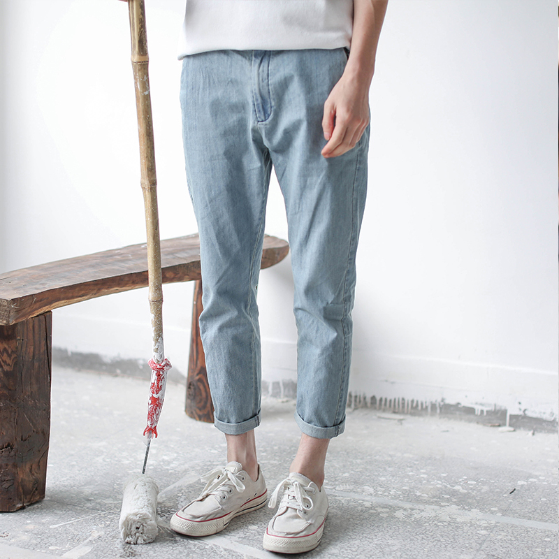 2018 Small foot slender nine-point jeans mens summer thin casual simple nine-point trousers pure color matching clothing
