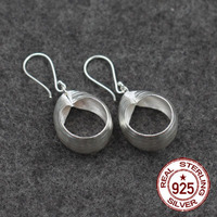 Thailand Imports 925 Sterling Silver National Wind Beautiful Wire Hollowed Out Circle Lady Earrings With Handmade
