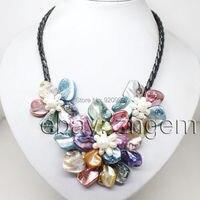 Groothandel Gratis P & P * natuurlijke grote witte parel Steen kleur shell mop bloem ketting hanger 18