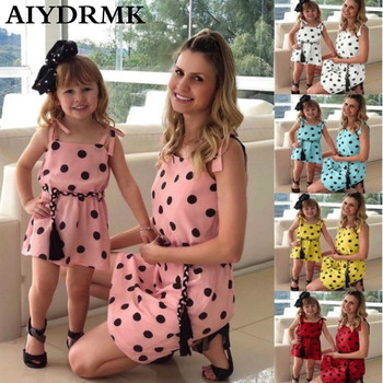 Mommy and Me Dresses Dots Print Mom and Daughter Dress Family Look Mom and Me Matching Clothes Matching Family Outfits for Party