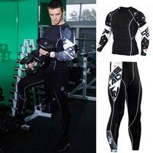 Мужской спортивный костюм комплект компрессионное термобелье для мужчин Кроссфит фитнес колготки Футболка женская бодибилдинг одежда 4XL