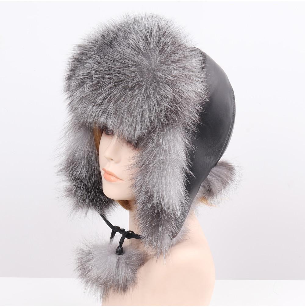 Chapeau 100% naturel doux véritable fourrure de renard