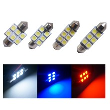 цена на 4pcs Festoon C3W C5W C10W White Red blue Car LED Bulbs 31mm 36mm 39mm 41mm Auto lamp Interior light License plate lights 12V