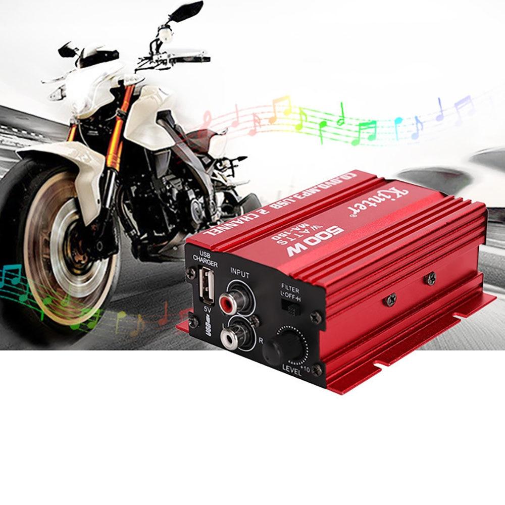 3.5mm Jack Hi Fi Digital Stereo Audio Amplifier 12V Car Amplifier 2CH 500W USB Car/ Motorcycle / Boat /MP3/MP4/CD Car Styling|Car Radios| |  - title=