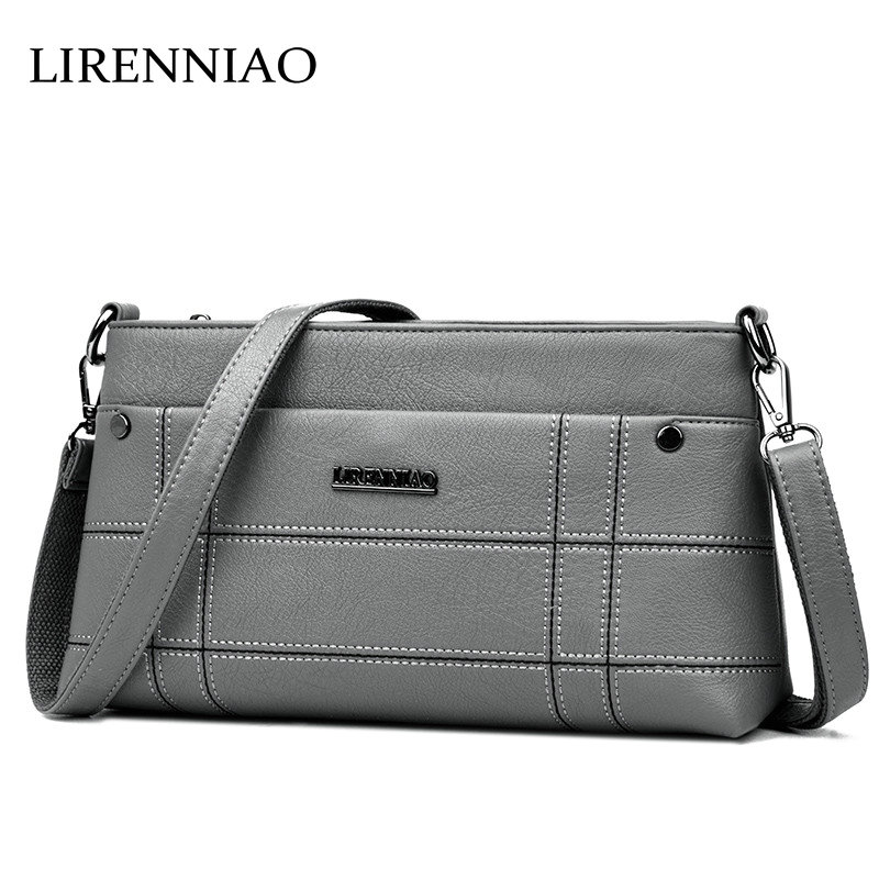 LIRENNIAO New 2018 Designer Thread Cowhide Tote Satchels Bag Leather Handbags Women Ladies Shoulder Messenger Crossbody Bags