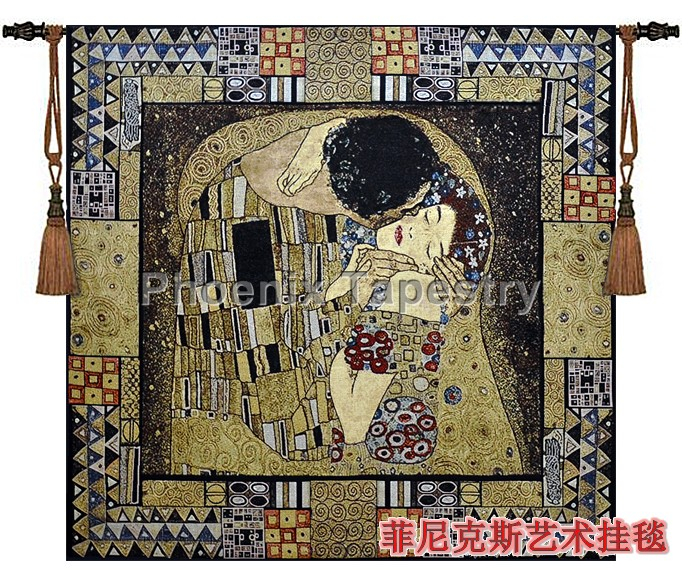 Gustav Klimt - kiss Beautiful tapestry wall hanging Fashion Portraut 100% cotton Home decoration textile - Square Art products