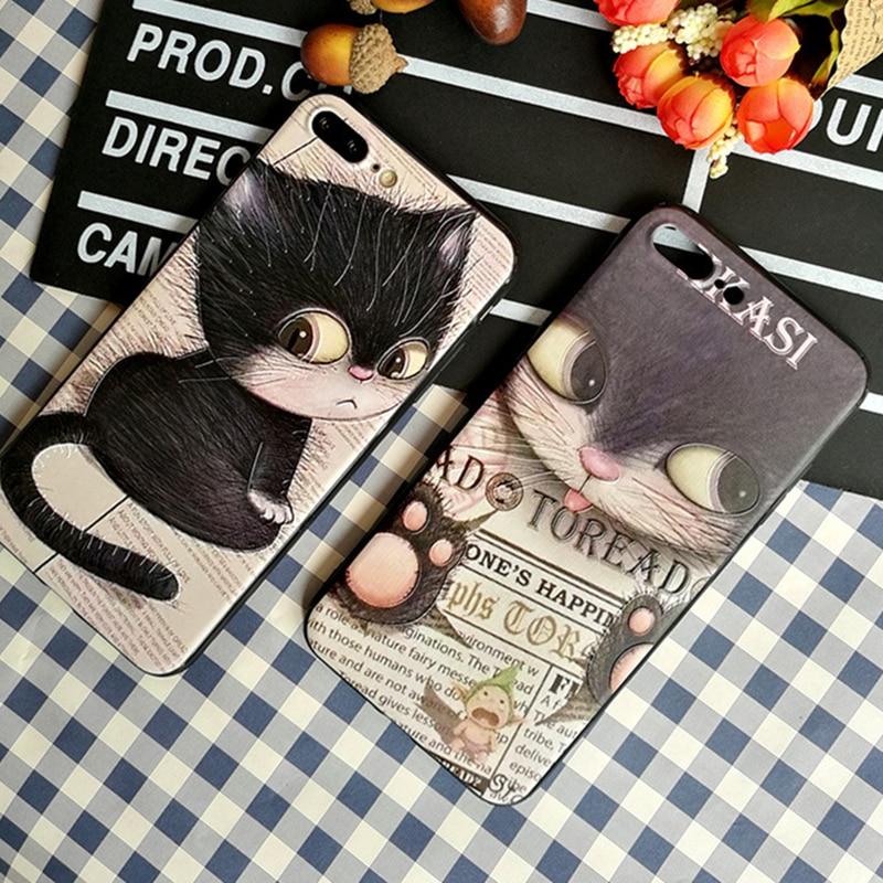 Tema do gato Para o iphone casos 7 silicone suave TPU 3D pintado Para iPhone 6 8 plus X protetor tampa traseira 3D caso capa de proteção