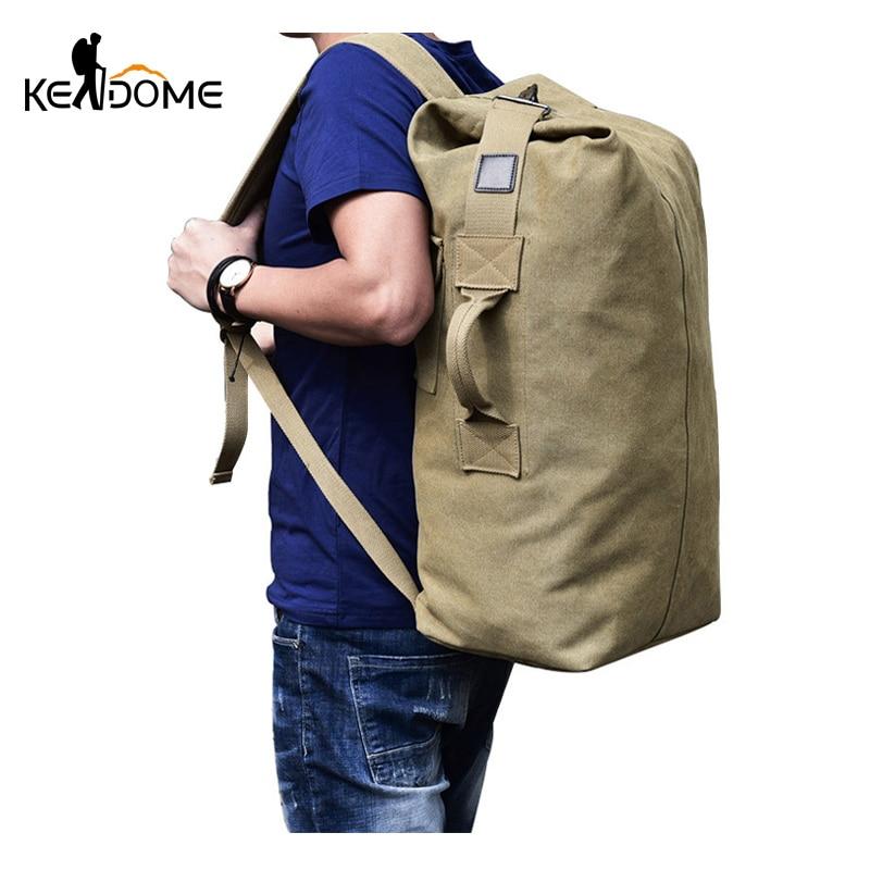 Vintage Canvas Sports Backpack Men Outdoor Military Tactical Rucksack Travel Hiking Bag Large 2017 Camping Mochila