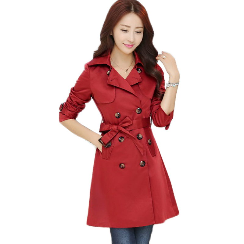 2018 Autumn New High Quality Women Trench Coat Fashion Double Breasted Mid long Outerwear Slim Belt
