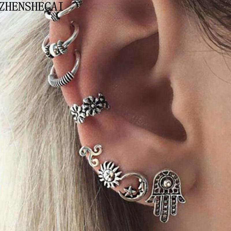 silver tree leaves ear cuff clip on 316l stainless steel single earring