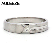 AULEEZE Gentleman White Real Diamond Men's Ring Au750 18k White Gold Brushed Ring Natural Diamond Wedding Engagement Ring Band