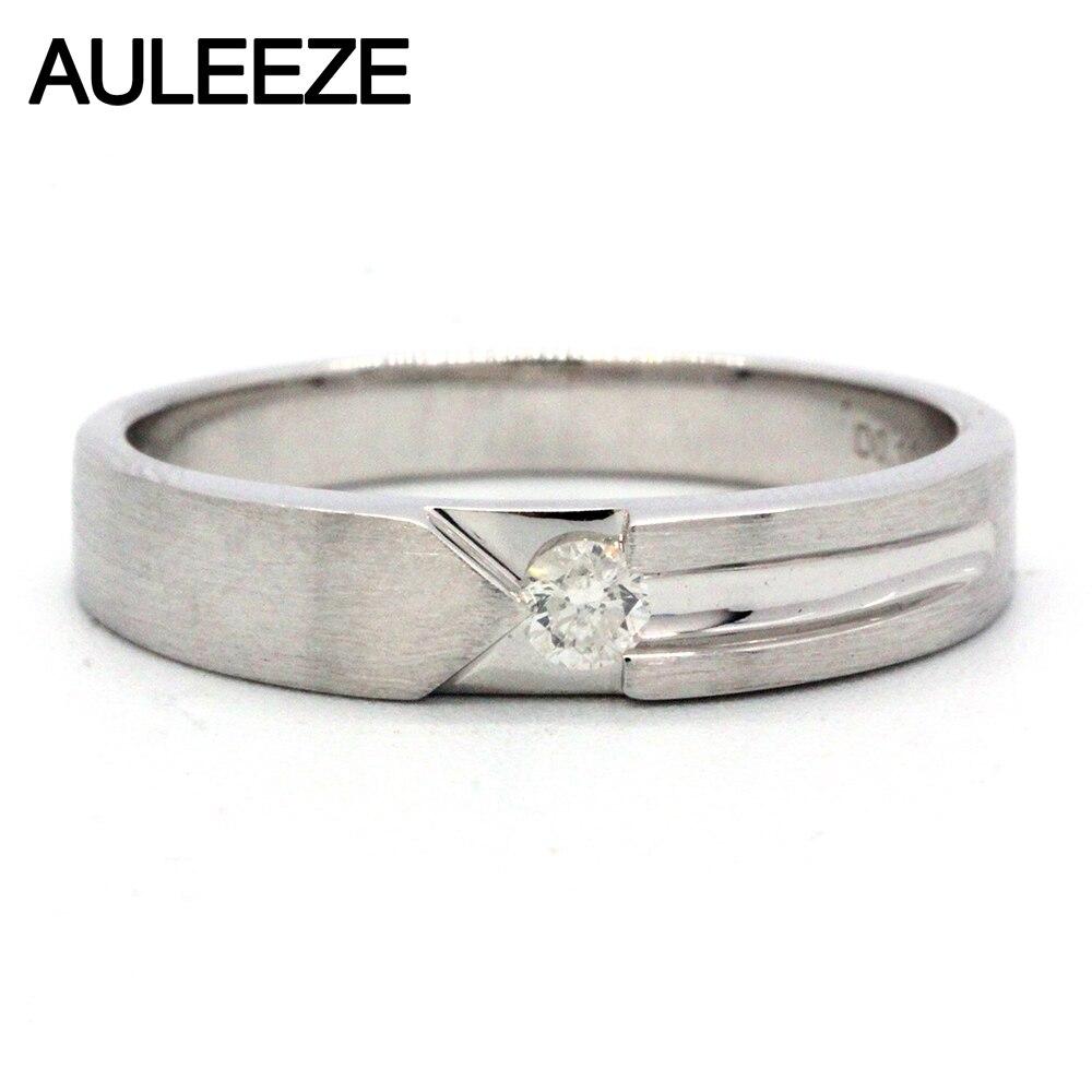 Auleeze джентльмен белый настоящий бриллиант Для мужчин кольцо au750 18 К белого золота матовый кольцо природных алмазов свадебный Обручение коль